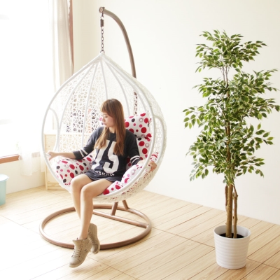 YKSHOUSE 樂活點點單人休閒吊籃椅