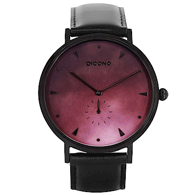 【PICONO】A week 系列 渲染簡約黑色真皮錶帶手錶 / AW-7605