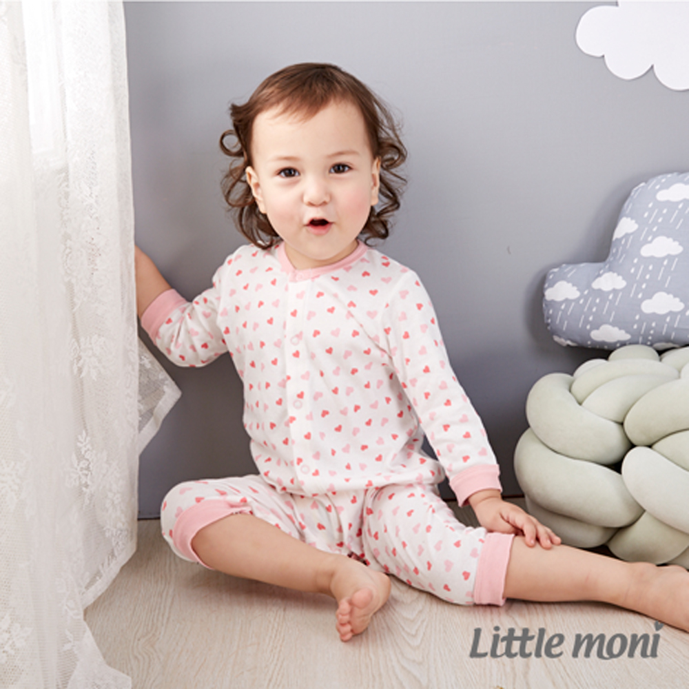 Little moni 純棉家居系列印圖長袖連身裝 (共2色) product image 1