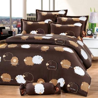 艾莉絲-貝倫 綿羊噗噗 100%純棉 單人鋪棉床罩五件組