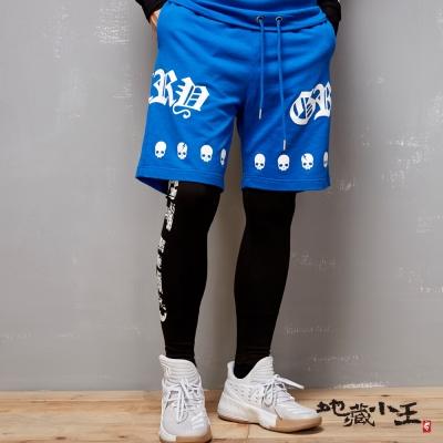 地藏小王 BLUE WAY 帥氣街頭風印花薄絨短褲-寶藍