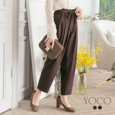 東京著衣-yoco 韓風時髦蝴蝶結綁帶打褶老爺褲-S.M.L(共二色)