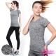 運動T恤 彈力速乾顯瘦緞染短袖運動上衣-個性