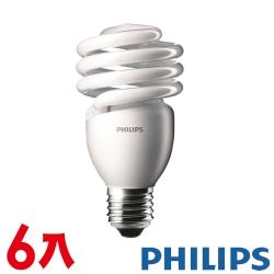 飛利浦 迷你電子式螺旋省電燈泡 23W 6入超
