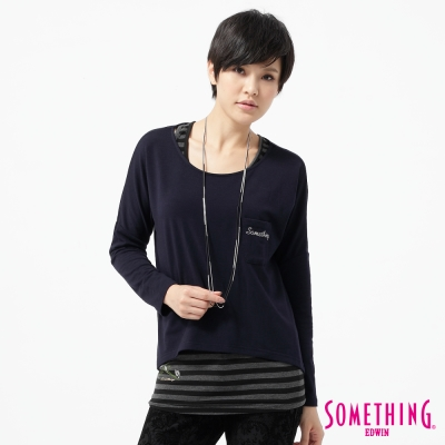 SOMETHING-T恤-貼袋鋁片兩件式T恤-女-黑藍