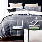 Grace Life 簡約線條 精梳純棉加大兩用被床罩八件組