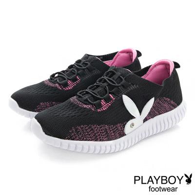 PLAYBOY 動感織心 襪套假綁帶輕量慢跑運動鞋-黑(女)