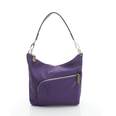 LouiseC. 簡約肩背小包(尼龍+牛皮) -- 紫色 05N37-0040A10