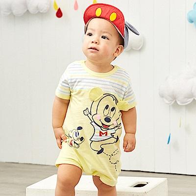 Disney baby米奇系列條紋拚接連身裝 (共2色)