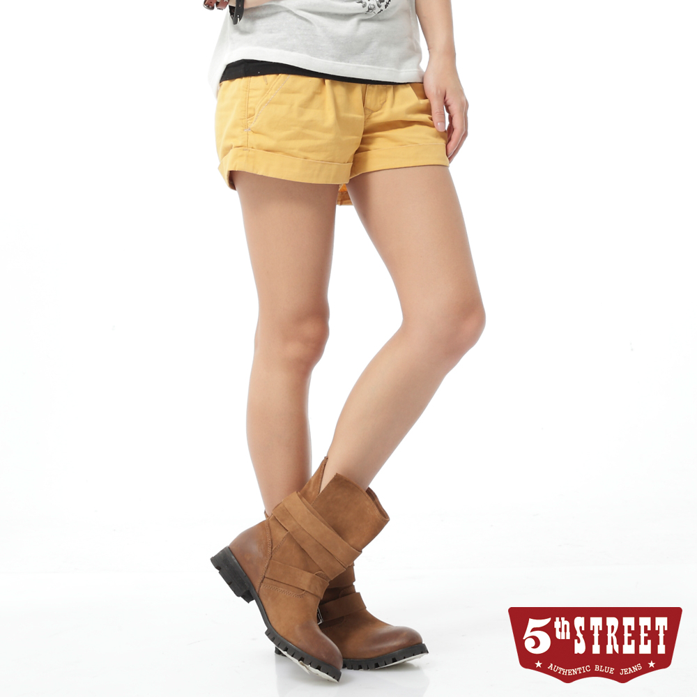 5th STREET 打褶休閒短褲-女-桔黃