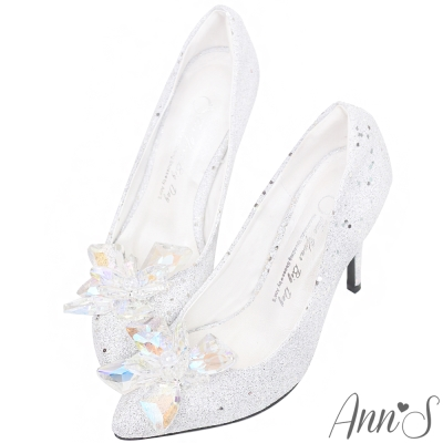 Ann'S冰雪奇緣-質感立體冰鑽尖頭高跟婚鞋-銀白