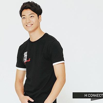 H:CONNECT 韓國品牌 男裝-假兩件式狗狗圖像上衣-黑