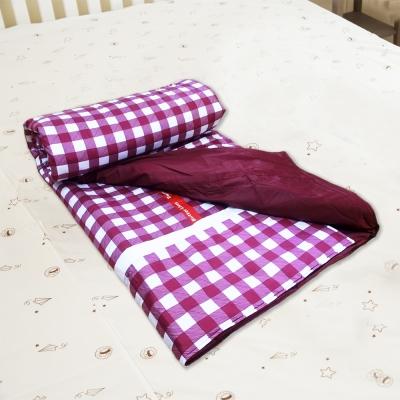 奶油獅-格紋系列-台灣製造-100%精梳純棉兩用鋪棉被套/四季被(紅)-雙人