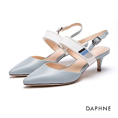 達芙妮DAPHNE 高跟鞋-一字繞踝尖頭高跟涼鞋-淺藍