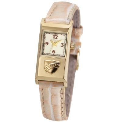 ICEBERG 米蘭時尚系列LOGO皮帶腕錶-白xPVD金色/20x36mm