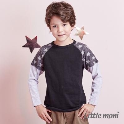 Little moni圖騰拼袖假兩件上衣 (共2色)