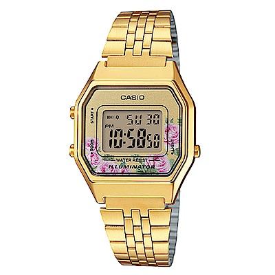 CASIO玫瑰花春樣氣息復古金系列百搭時尚數位錶(LA-680WGA-4C)粉玫瑰28.6