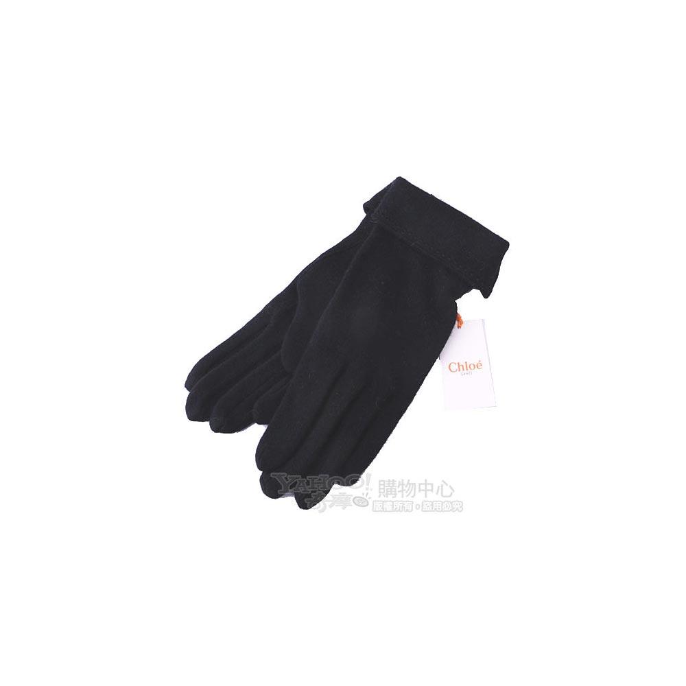 Chloe 刺繡logo混客什米爾羊毛反折手套(黑色)