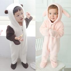 baby童衣 珊瑚絨超厚冬日動物造型包腳連身衣 50413