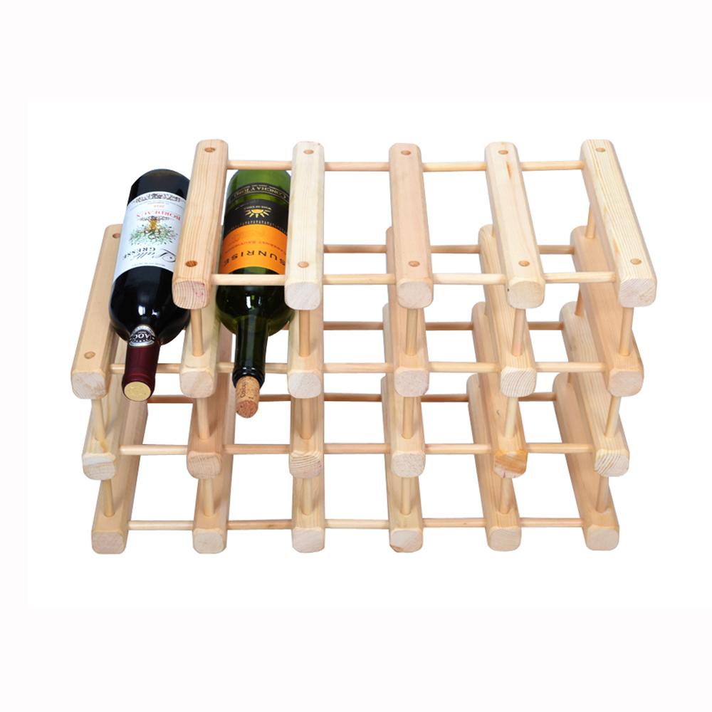 日式松木創意併接造型酒架(19支)