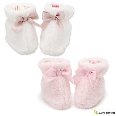 Nishiki 日本株式會社 毛毛蝴蝶結碎花嬰兒襪鞋