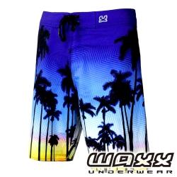 WAXX 熱帶系列-晨曦棕梠樹吸濕排汗男性衝浪褲