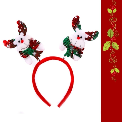 摩達客 格紋圍巾麋鹿彈簧髮箍