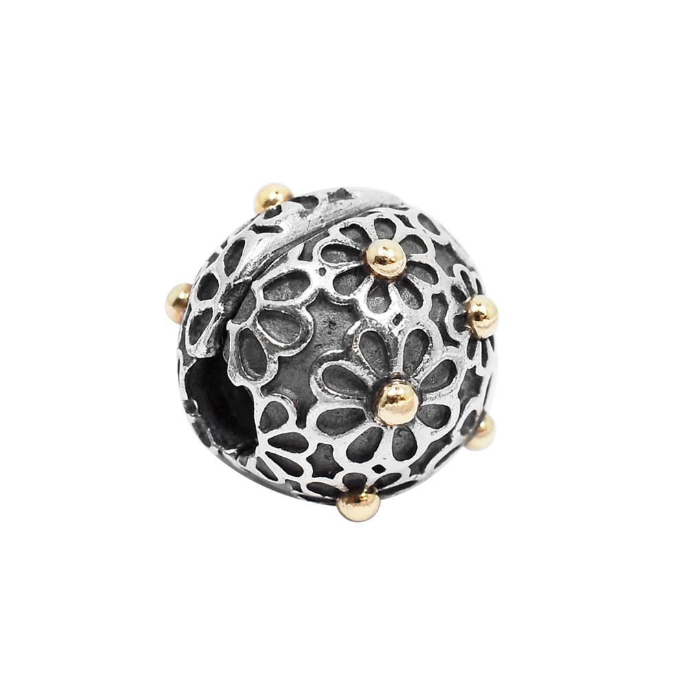 Pandora 潘朵拉 14K金雛菊夾扣式 純銀墜飾 串珠