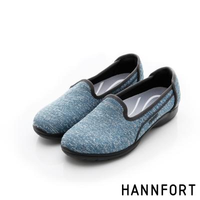 HANNFORT EASY WALK輕盈針織動能氣墊健走鞋-女-舒適藍