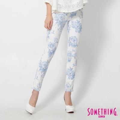 SOMETHING LADIVA花卉合身牛仔褲-女-藍色