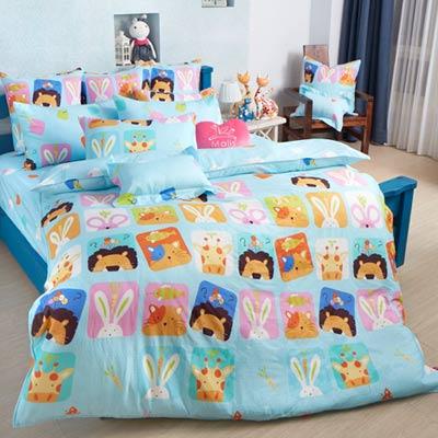 義大利Fancy Belle 繽紛動物園 雙人四件式防蹣抗菌舖棉兩用被床包組