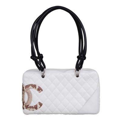 CHANEL 經典康朋系列造型保齡球手提包(白)-展示品