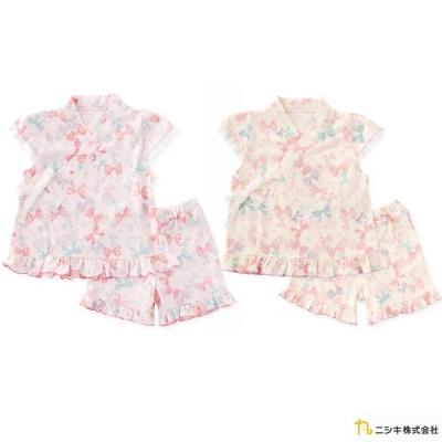 Nishiki 日本株式會社 日式短袖蝴蝶結荷葉邊綁帶套裝二件組