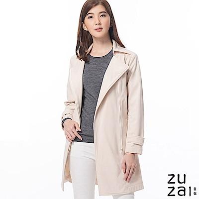 zuzai 自在卓絕長版防水保暖風衣-女-米黃色