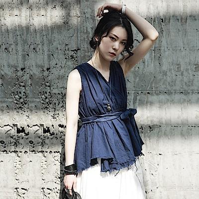 夏季新款復古日系做舊割毛邊綁帶棉麻無袖襯衫-設計所在