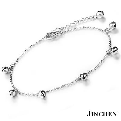 JINCHEN 白鋼鈴鐺腳鍊 銀色