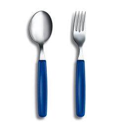VICTORINOX瑞士維氏 不鏽鋼餐具組(餐匙+餐叉)-藍