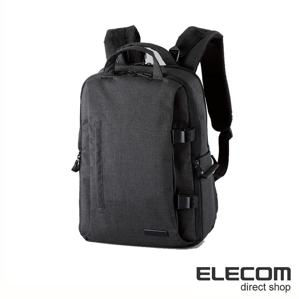 ELECOM 帆布多功能質感後背包(M)S038-黑