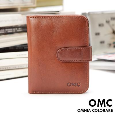 OMC - 韓國時尚精工牛皮原皮扣式短夾