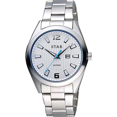 STAR 時代 城市摩登石英腕錶-銀x藍圈x銀/39mm