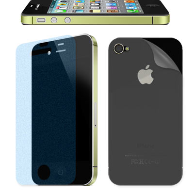 Apple iPhone 4S 一指無紋抗刮霧面貼+背膜(贈邊條+布)