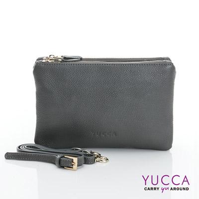 YUCCA 萬用多夾層手拿斜背小包 - 灰色 D014833