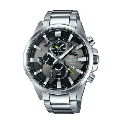 EDIFICE 世界地圖錶盤設計俐落帥氣腕錶(EFR-303D-1A)-黑/48.8mm