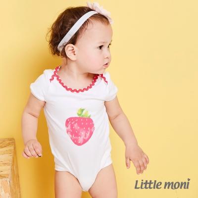 Little moni 水彩暈染草莓包屁衣  白色