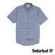 Timberland 男款藍灰色細格紋短袖襯