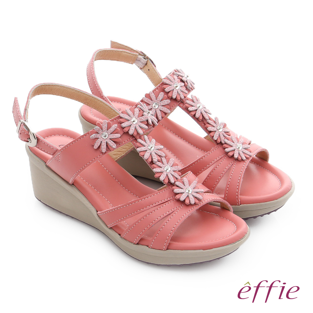 effie 趣踏輕 真皮拼接水鑽花朵楔型涼鞋 桃粉紅色