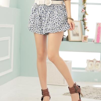 【La Belleza 中大尺碼】滿版花花棉麻鬆緊褲裙+編織腰帶