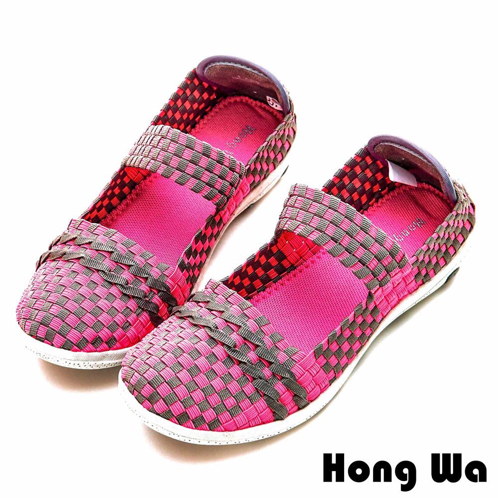 Hong Wa 休閒運動風手工一字帶編織撞色包鞋 - 粉