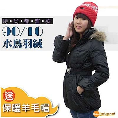 【荒野 wildland 】女款 中長版 貉子毛單件式保暖羽絨外套_黑