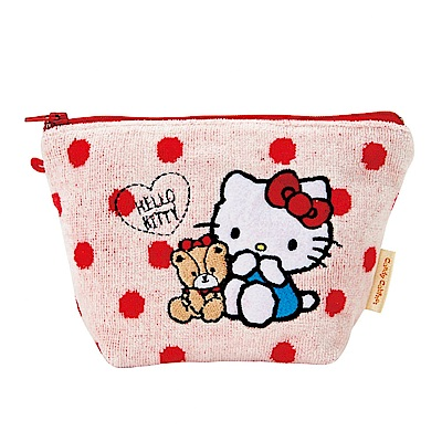 Sanrio HELLO KITTY刺繡鑲飾絨布化妝包(小熊點點)